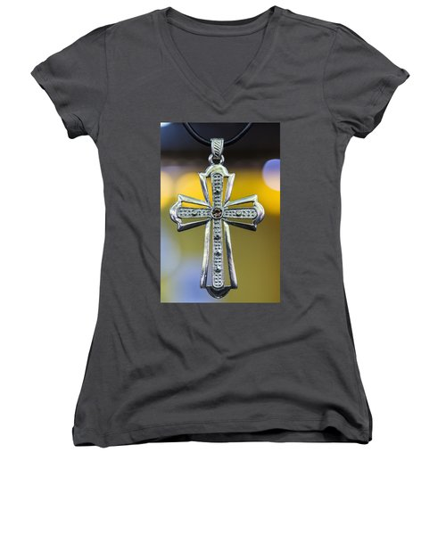 Symbol Of Faith Women's V-Neck (Athletic Fit)