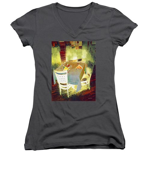 Table At The Fauve Cafe Women's V-Neck (Athletic Fit)