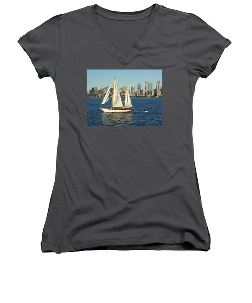 Women's V-Neck T-Shirt (Junior Cut) featuring the photograph Mind If I Tag Along by Natalie Ortiz