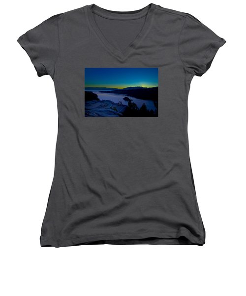 Women's V-Neck featuring the photograph Tahoe Sunrise by Jim Thompson