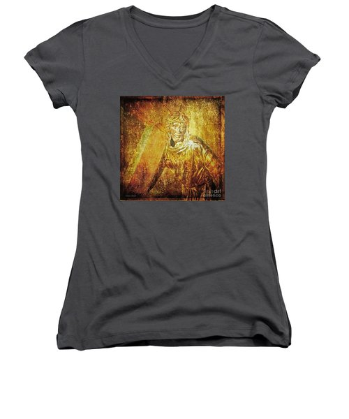 Takes Up The Cross  Via Dolorosa 2 Women's V-Neck (Athletic Fit)