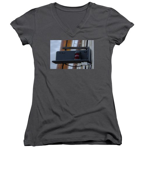 Women's V-Neck T-Shirt (Junior Cut) featuring the photograph Tall Ship Bow Light by Dale Powell