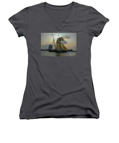 Tall Ship In Charleston Women's V-Neck T-Shirt (Junior Cut) by Dale Powell