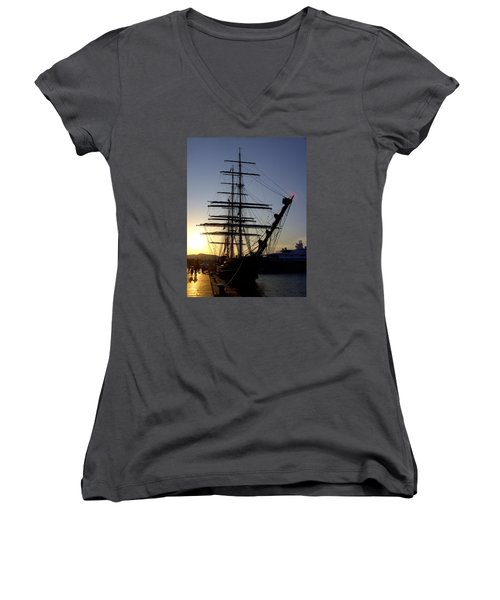 Tall Ship In Ibiza Town Women's V-Neck (Athletic Fit)