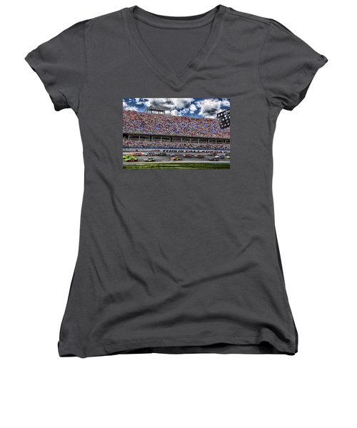 Talladega Superspeedway In Alabama Women's V-Neck T-Shirt (Junior Cut) by Mountain Dreams