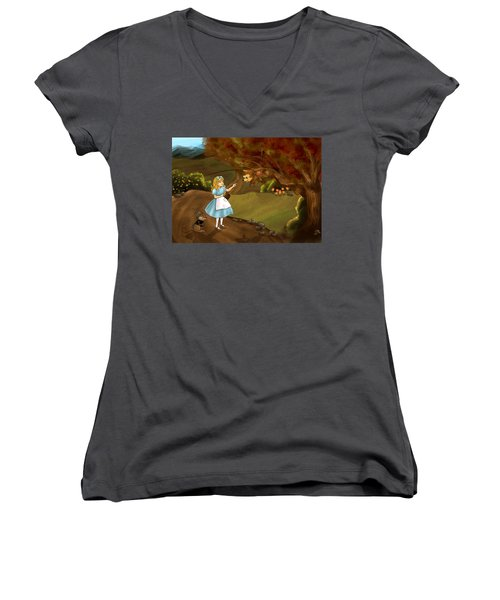 Women's V-Neck T-Shirt (Junior Cut) featuring the painting Tammy Meets Zeke The Opossum by Reynold Jay