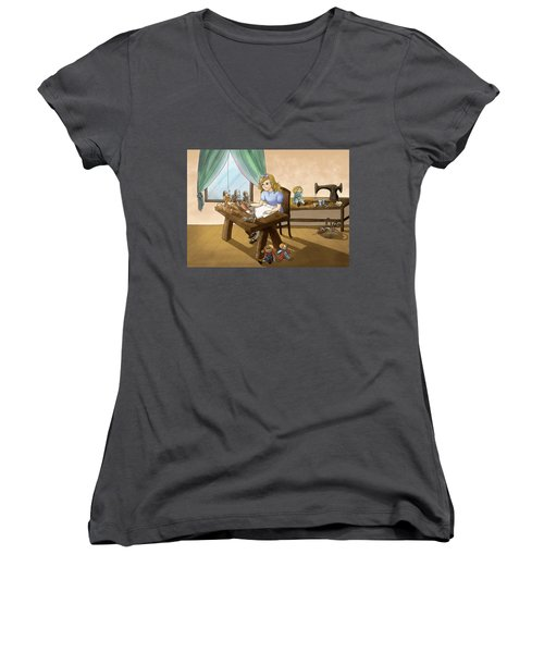 Women's V-Neck T-Shirt (Junior Cut) featuring the painting Tammy The Little Doll Girl  by Reynold Jay