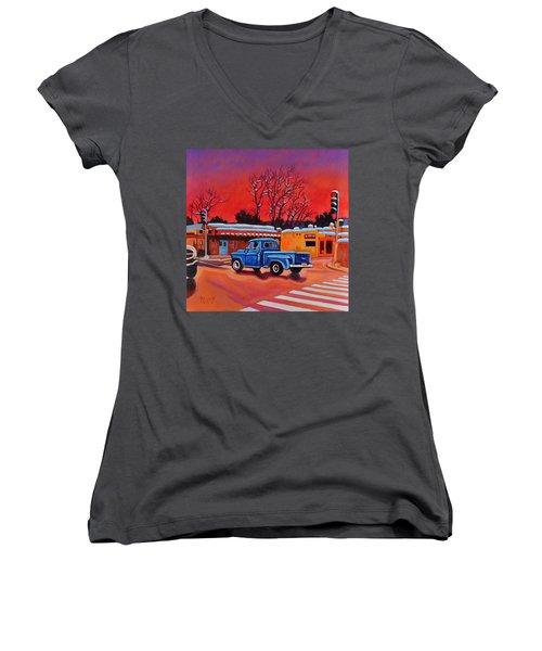 Taos Blue Truck At Dusk Women's V-Neck T-Shirt (Junior Cut) by Art West