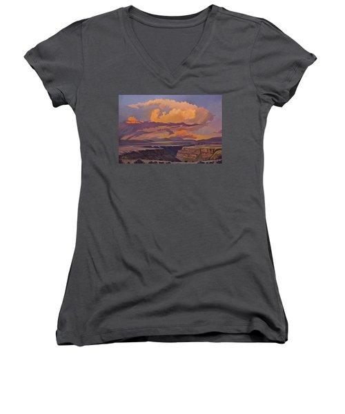 Taos Gorge - Pastel Sky Women's V-Neck T-Shirt (Junior Cut) by Art James West