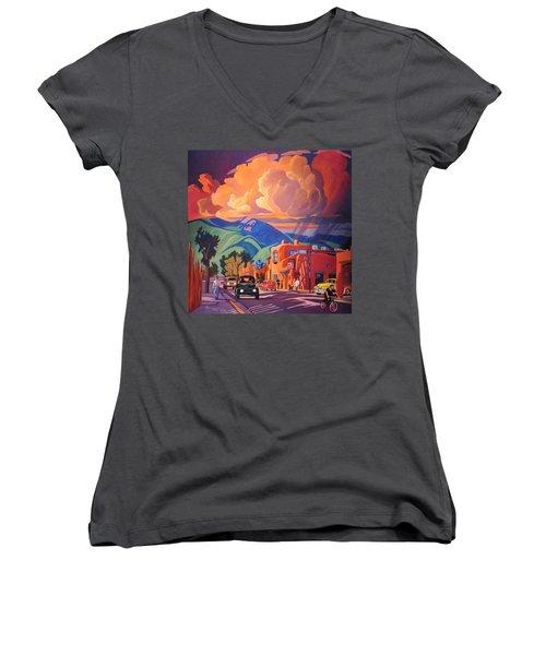 Taos Inn Monsoon Women's V-Neck T-Shirt (Junior Cut) by Art James West