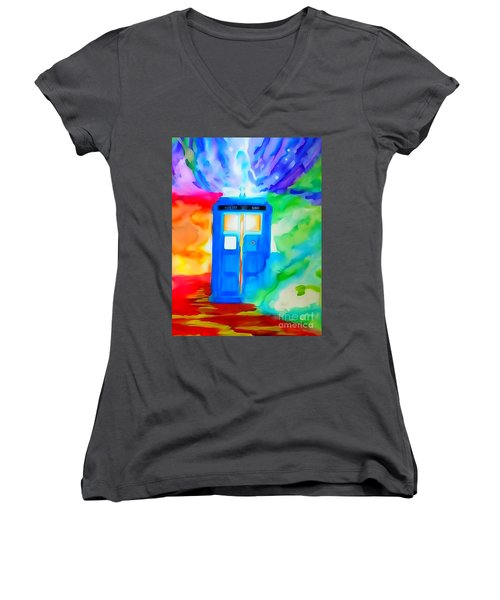 Women's V-Neck T-Shirt (Junior Cut) featuring the drawing Tardis Watercolor Edition by Justin Moore