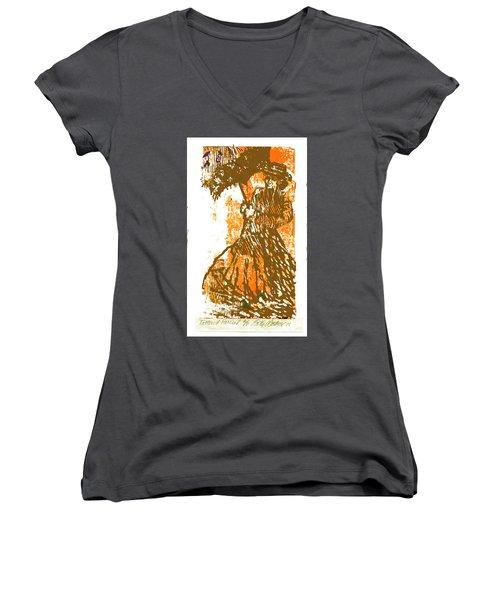 Tattered Parasol Women's V-Neck T-Shirt (Junior Cut) by Seth Weaver
