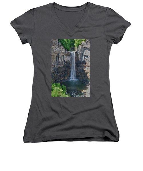 Taughannock Falls  0453 Women's V-Neck T-Shirt (Junior Cut) by Guy Whiteley