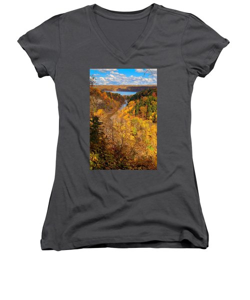 Women's V-Neck T-Shirt (Junior Cut) featuring the photograph Taughannock River Canyon In Colorful Fall Ithaca New York by Paul Ge