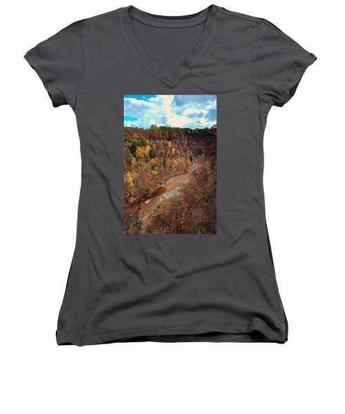 Women's V-Neck T-Shirt (Junior Cut) featuring the painting Taughannock River Canyon In Colorful Fall Ithaca New York V by Paul Ge