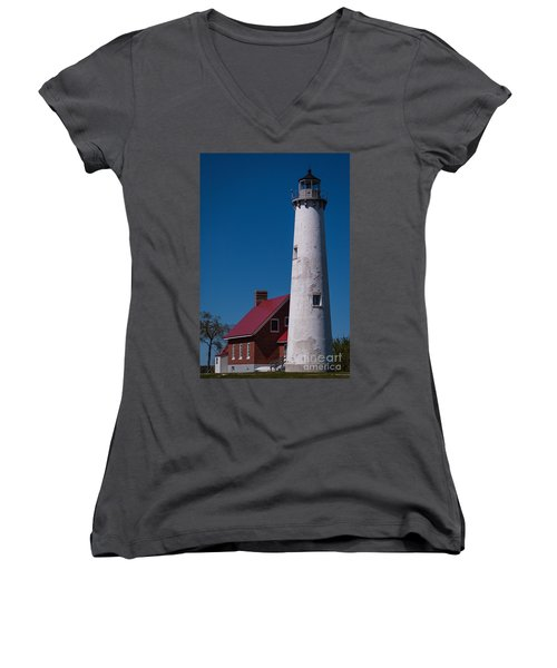 Women's V-Neck T-Shirt (Junior Cut) featuring the photograph Tawas Point Lighthouse by Patrick Shupert