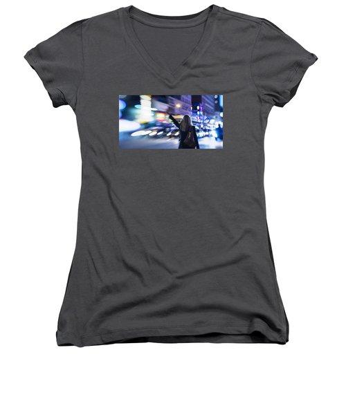 Taxi's Hunting In Manhattan Women's V-Neck T-Shirt (Junior Cut)