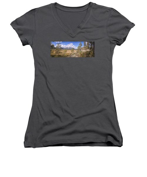 Women's V-Neck T-Shirt (Junior Cut) featuring the photograph Taylor Creek Panorama by Jim Thompson