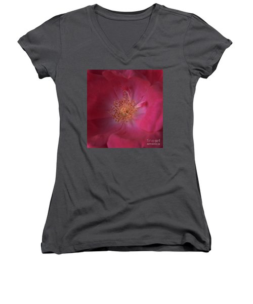 Women's V-Neck T-Shirt (Junior Cut) featuring the photograph Tea Rose by Debra Fedchin
