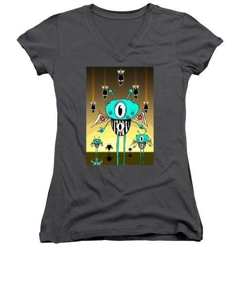 Team Alien Women's V-Neck T-Shirt (Junior Cut) by Johan Lilja