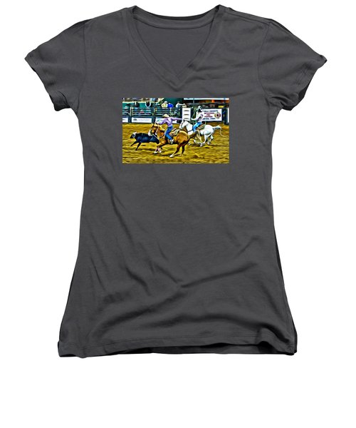 Women's V-Neck featuring the photograph Team Ropers by Alice Gipson