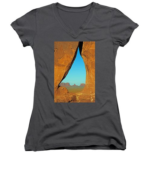 Tear Drop Arch Monument Valley Women's V-Neck T-Shirt (Junior Cut) by Jeff Brunton