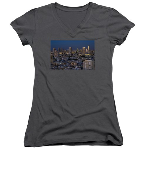 Women's V-Neck T-Shirt featuring the photograph Tel Aviv At The Twilight Magic Hour by Ron Shoshani