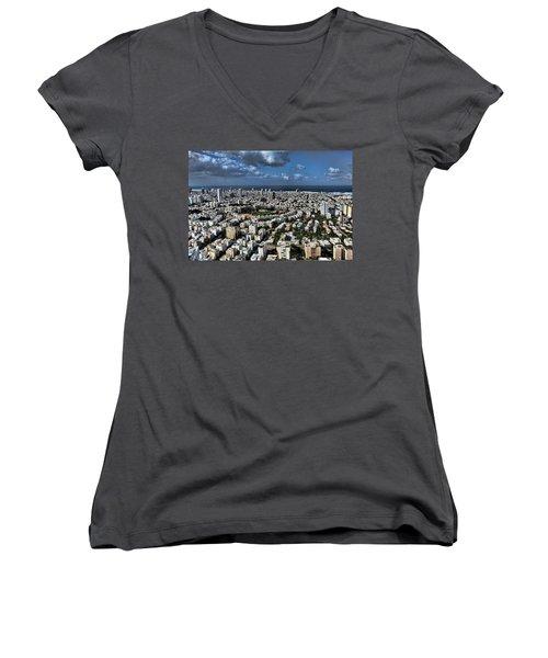 Women's V-Neck T-Shirt (Junior Cut) featuring the photograph Tel Aviv Center by Ron Shoshani