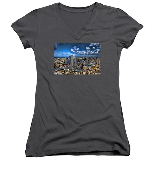 Women's V-Neck T-Shirt featuring the photograph Tel Aviv Center Skyline by Ron Shoshani