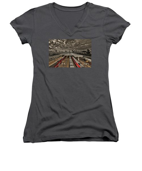 Women's V-Neck T-Shirt featuring the photograph Tel Aviv Central Railway Station by Ron Shoshani
