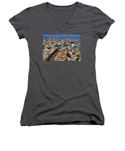 Women's V-Neck T-Shirt (Junior Cut) featuring the photograph Tel Aviv Eagle Eye View by Ron Shoshani
