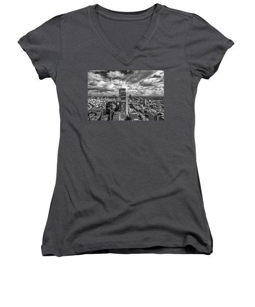 Tel Aviv High And Above Women's V-Neck T-Shirt (Junior Cut) by Ron Shoshani