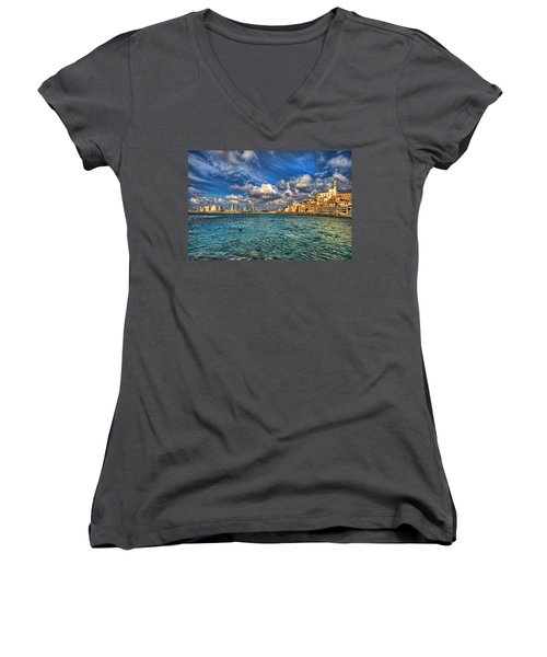 Women's V-Neck T-Shirt featuring the photograph Tel Aviv Jaffa Shoreline by Ron Shoshani