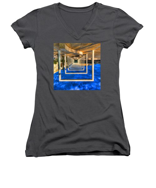 Women's V-Neck T-Shirt (Junior Cut) featuring the photograph Tel Aviv Jump by Ron Shoshani