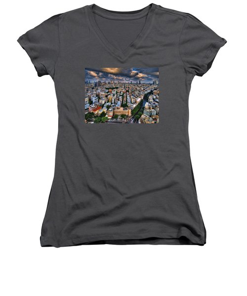 Women's V-Neck T-Shirt featuring the photograph Tel Aviv Lookout by Ron Shoshani