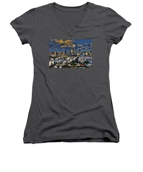 Women's V-Neck T-Shirt (Junior Cut) featuring the photograph Tel Aviv Skyline Fascination by Ron Shoshani