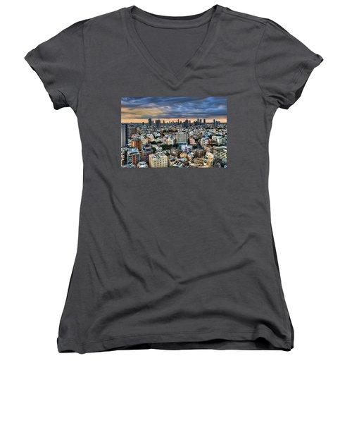 Women's V-Neck T-Shirt (Junior Cut) featuring the photograph Tel Aviv Skyline Winter Time by Ron Shoshani