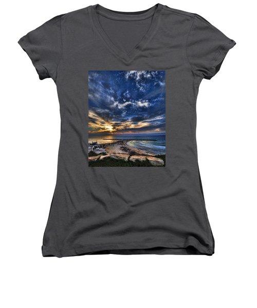 Women's V-Neck T-Shirt (Junior Cut) featuring the photograph Tel Aviv Sunset At Hilton Beach by Ron Shoshani