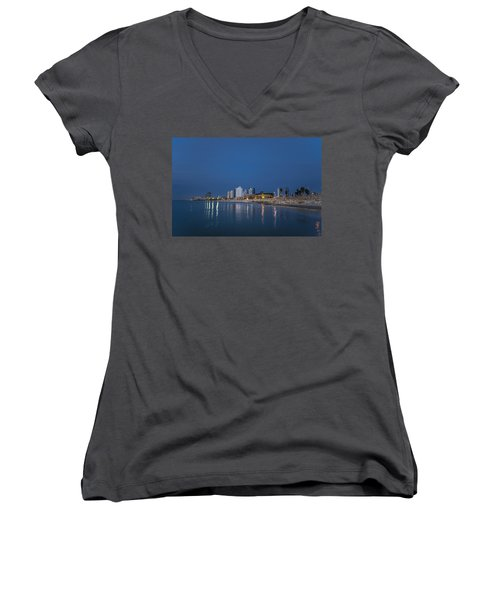 Women's V-Neck T-Shirt featuring the photograph Tel Aviv The Blue Hour by Ron Shoshani