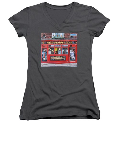 Women's V-Neck T-Shirt (Junior Cut) featuring the painting Temple Bar Dublin Ireland by Melinda Saminski