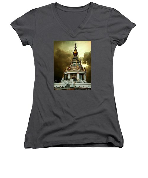 Temple Of Clouds  Women's V-Neck T-Shirt (Junior Cut) by Ian Gledhill