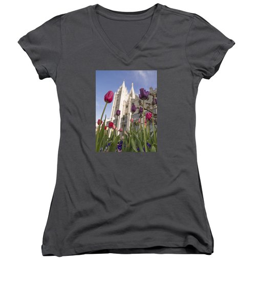 Temple Tulips Women's V-Neck (Athletic Fit)