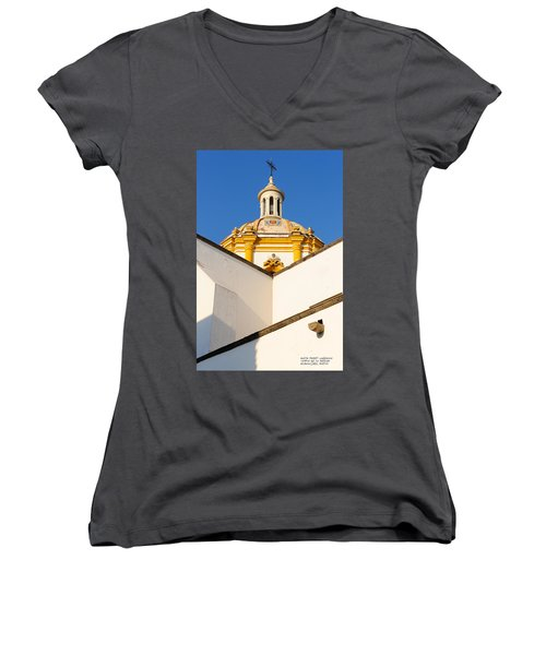 Women's V-Neck T-Shirt (Junior Cut) featuring the photograph Templo De La Merced Guadalajara Mexico by David Perry Lawrence