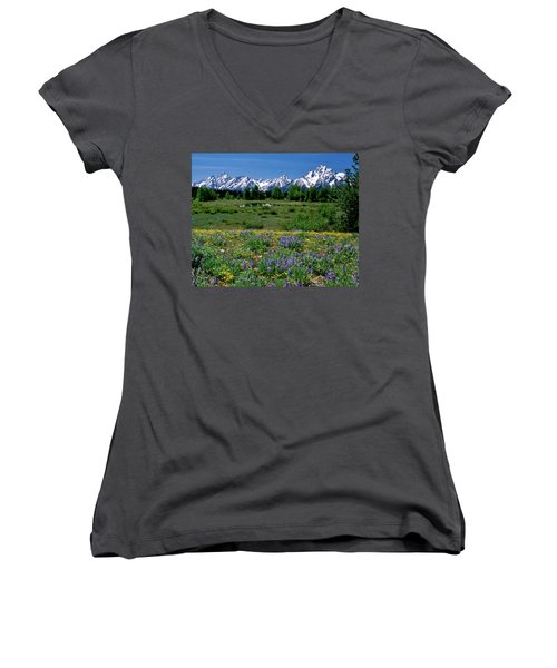 Teton Grandeur Women's V-Neck T-Shirt (Junior Cut) by Ed  Riche