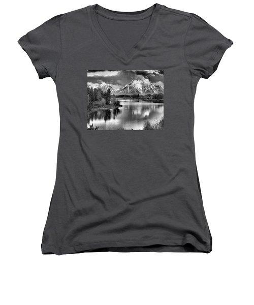 Tetons In Black And White Women's V-Neck