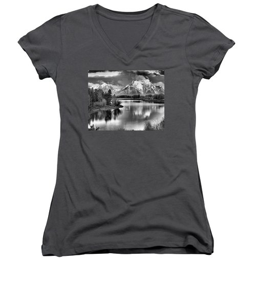 Tetons In Black And White Women's V-Neck (Athletic Fit)