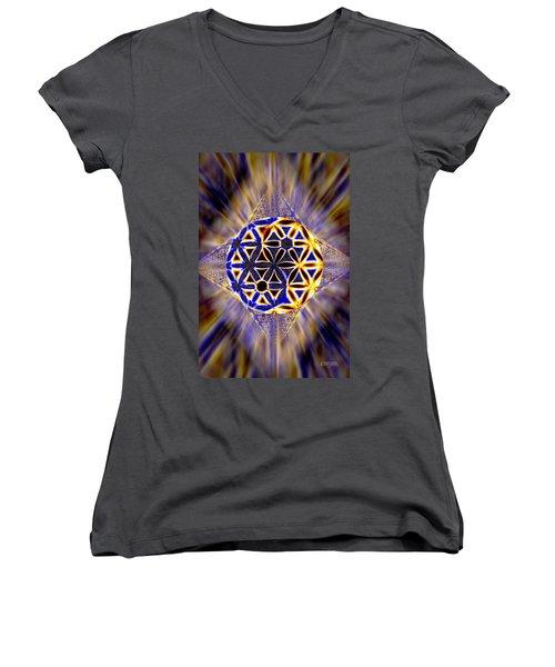 Women's V-Neck T-Shirt (Junior Cut) featuring the drawing Tetra Balance Crystal by Derek Gedney