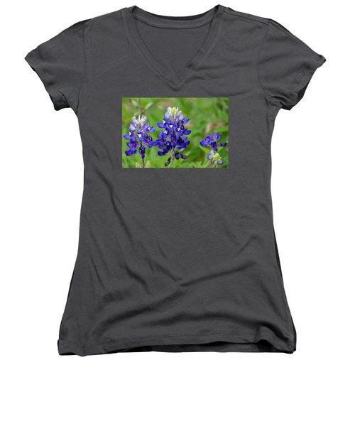 Women's V-Neck T-Shirt (Junior Cut) featuring the photograph Texas Bluebonnets by Debra Martz