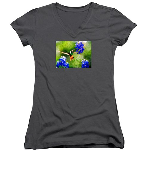 Da161 Texas Bluebonnet Hummingbird By Daniel Adams Women's V-Neck (Athletic Fit)