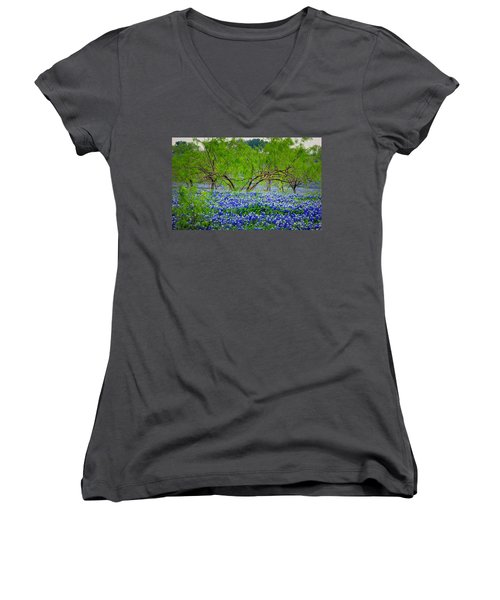 Women's V-Neck T-Shirt (Junior Cut) featuring the photograph Texas Bluebonnets - Texas Bluebonnet Wildflowers Landscape Flowers by Jon Holiday